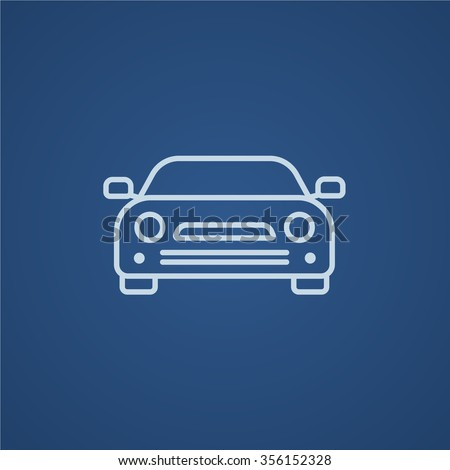 Car line icon for web, mobile and infographics. Vector light blue icon isolated on blue background. - stock vector