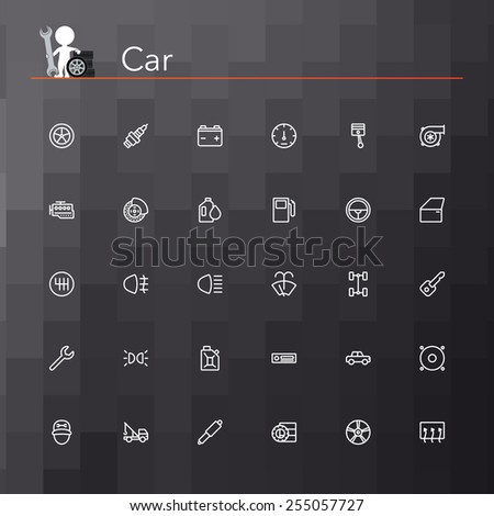 Car line icons set. Vector illustration. Geometric background.
