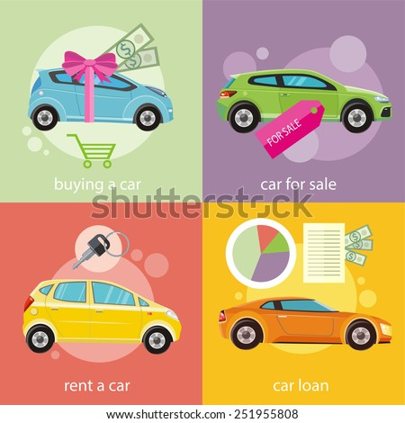 Car loan approved document with dollars money. Buying car concept. Gift car and red ribbon with dollars money. Car sale. Rent a car concept in flat design - stock vector