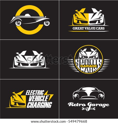 car logos and icons set, isolated car labels