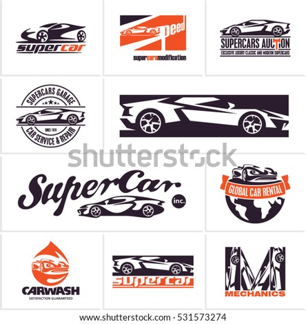 car logos, supercars icons, car service