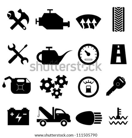 Car maintenance and repair icon set - stock vector