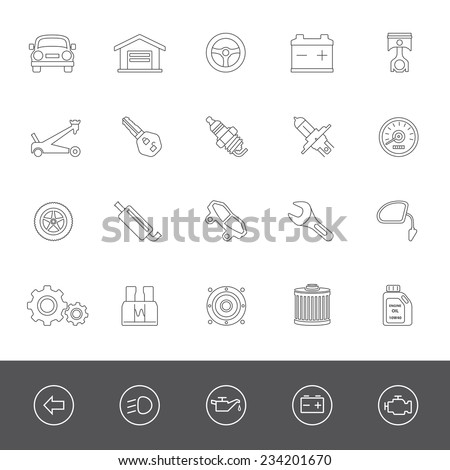 Car maintenance icons - stock vector