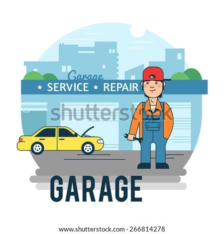 Car Maintenance Wizard. The Garage. - stock vector