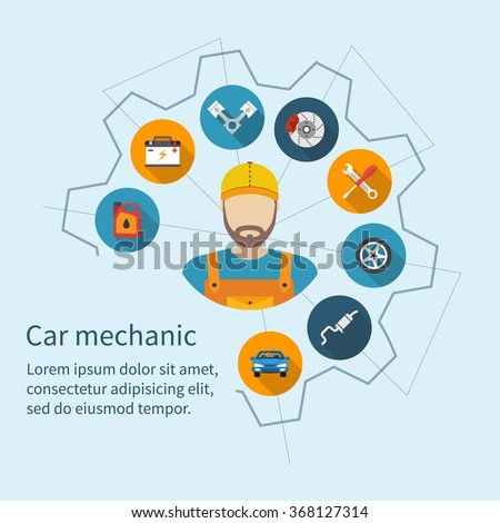 Car mechanic with flat icons tools and spare parts, concept. Repair machines, equipment. Car service concept. Vector illustration. Auto mechanic icon. Repair car flat design.