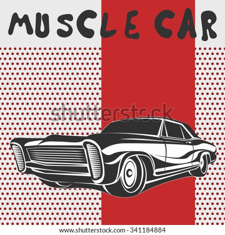 Car muscle poster 70s vector illustration red - stock vector