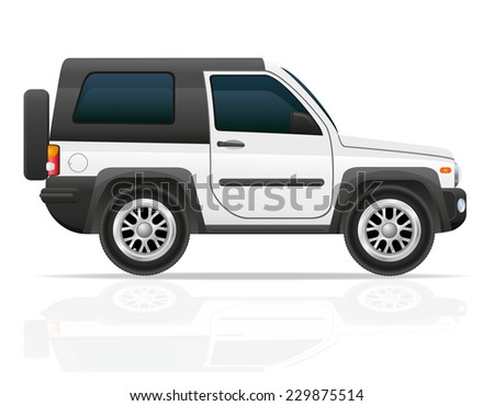 car off road SUV vector illustration isolated on white background