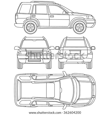 Car offroad line draw insurance, rent damage, condition report form blueprint, all view - stock vector
