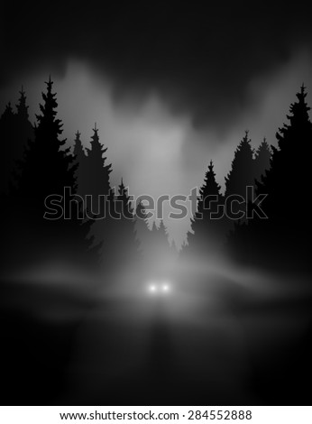 car on dark road at night through misty forest editable vector - stock vector