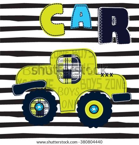 car on striped background, T-shirt design vector illustration - stock vector