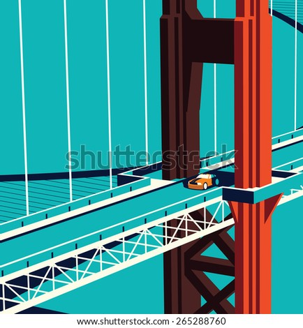 Car on  the Golden State Bridge  - stock vector