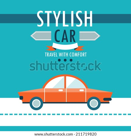 Car on the road. Stylish car, travel with comfort. Flat design background template. Vector illustration