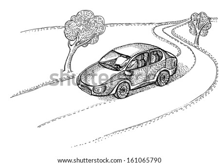 Car on the village road - stock vector