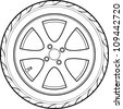 car or truck tire line art - stock photo