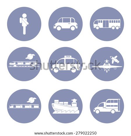 Car or vehicle icon set, transportation concept for design presentation in vector - stock vector