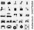car part set of repair icon vector illustration.Car service maintenance icon - stock vector