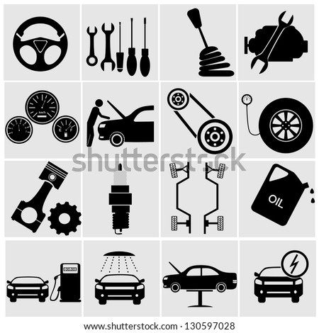 car part set of repair icon vector illustration.Car service maintenance icon