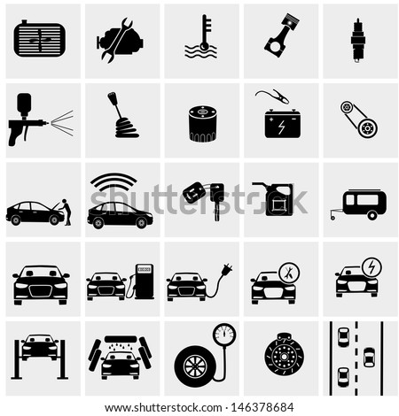 car part set of repair icon vector illustration.Car service maintenance icon - stock vector