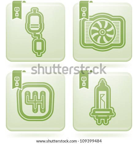 Car parts and accessories, from left to right:  Jerrycan, Shock absorber, First kit aid, Temperature indicator. - stock vector