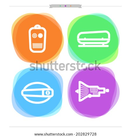 Car parts and accessories, from left to right -  Remote lock, Roof rack, Door handle, Gearshift.  - stock vector