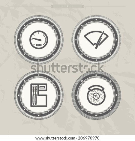 Car parts and accessories, from left to right - Speedometer, Fuel indicator, Fuel pump, Disk brake.