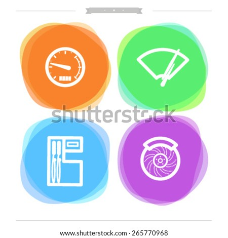 Car parts and accessories, from left to right - Speedometer, Fuel indicator, Fuel pump, Disk brake.  - stock vector