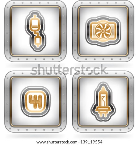 Car parts and accessories, pictured here from left to right, top to bottom:  Exhaust system, Cooler, Gear shift, Light bulb. - stock vector