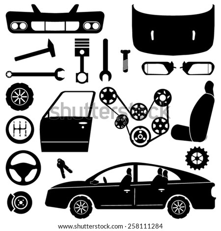 Car parts - chassis, car engine parts and car repair tools - stock vector