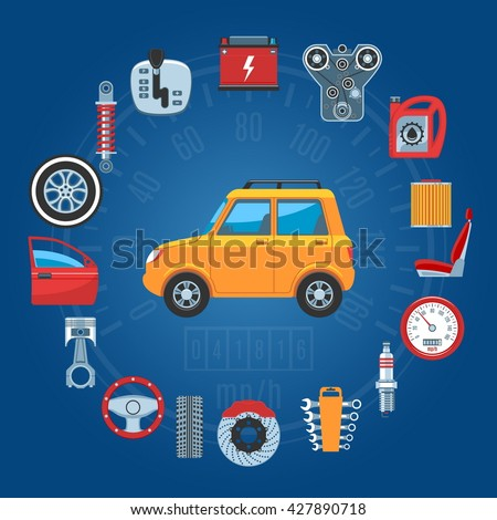 Car Parts Concept Icons Set. Vector illustration - stock vector