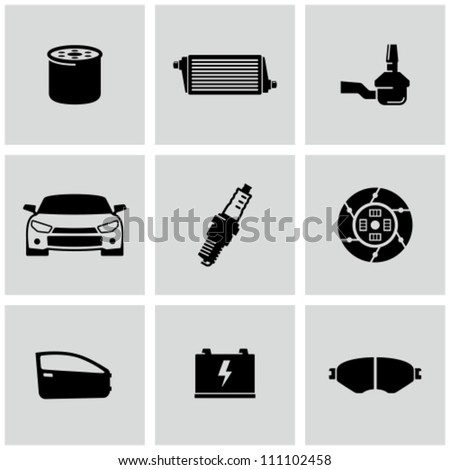 Car Parts icons set - stock vector