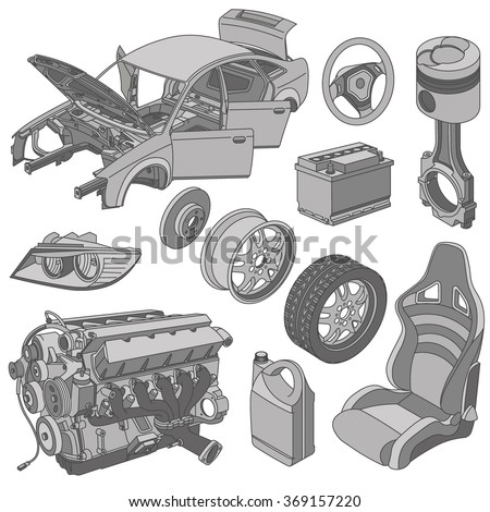Car Parts Icons Set Isometric Vector Stock Photo (Photo, Vector ...
