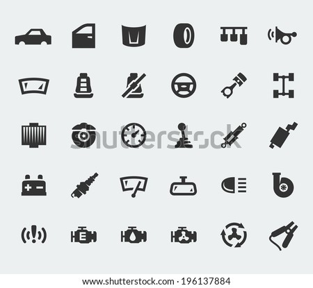 Car parts large icons set - stock vector
