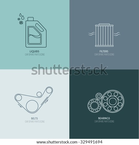 Car parts line icons 2 of 4 on four color blocks background  - stock vector
