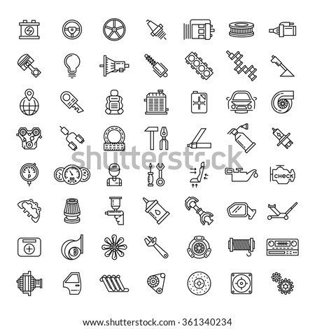 Car parts line icons set. Auto service repair symbol, gear engine, spanner and filter, vector illustration - stock vector