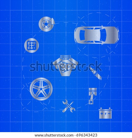 Car parts on blueprint stock vector 696343423 shutterstock car parts on blueprint malvernweather Gallery