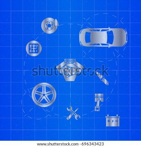 Car parts on blueprint vector de stock696343423 shutterstock car parts on blueprint malvernweather Choice Image