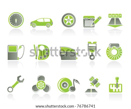 car parts, services and characteristics icons - vector icon set - stock vector