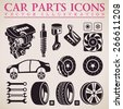 Car parts set. Vector repair car service icons set - stock photo