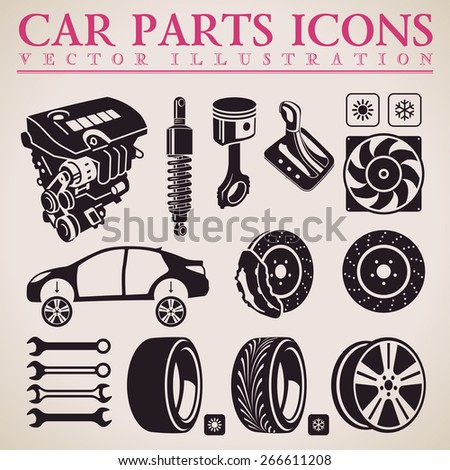 Car parts set. Vector repair car service icons set - stock vector