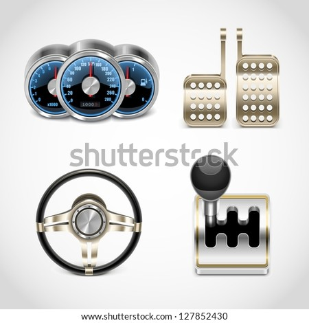 car parts vector icons set 2 - stock vector
