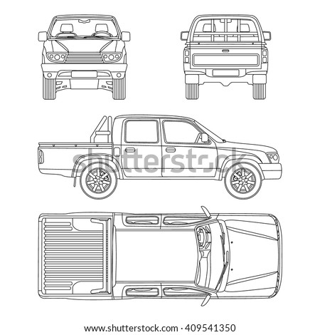 Car pickup truck double cab vector stock vector 409541350 shutterstock car pickup truck double cab vector illustration blueprint malvernweather Image collections