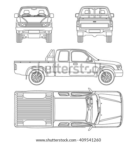 Truck pickup types template blueprint drawing stock vector car pickup truck half cab vector illustration blueprint malvernweather Image collections