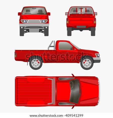 Car pickup truck one cab vector stock vector hd royalty free car pickup truck one cab vector illustration blueprint malvernweather Choice Image