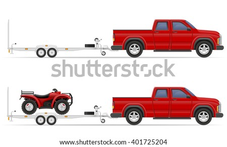 car pickup with trailer vector illustration isolated on white background - stock vector