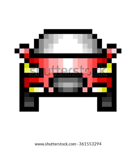 Car pixel Icon, in the vector. EPS 8 format.