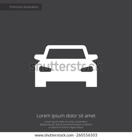 car premium illustration icon, isolated, white on dark background, with text elements