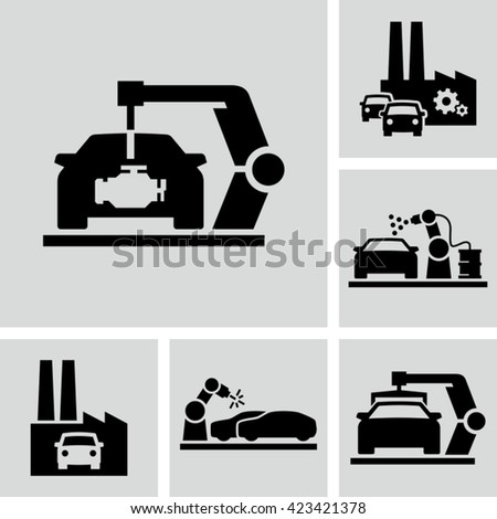 Car Production Line. Installing new engine on the car body  - stock vector