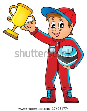 Car racer holding trophy theme image 1 - eps10 vector illustration.