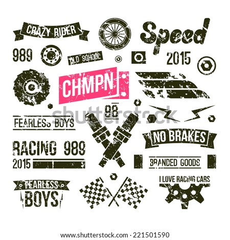 Car races club badges in retro style. Graphic design for t-shirt. Black print on white background  - stock vector