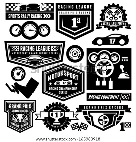 Car racing emblems - stock vector